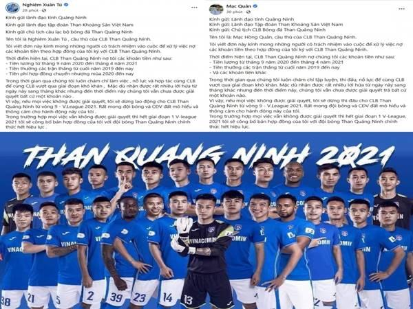 Bóng đá VN 23/8: Cầu thủ CLB Quảng Ninh lên tiếng vì bị nợ lương